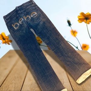 Bebe rhinestone logo Y2K jeans